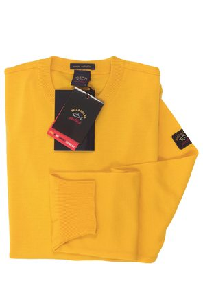 Trui ronde hals Paul & Shark 100% fijne Merino wol 458 yellow